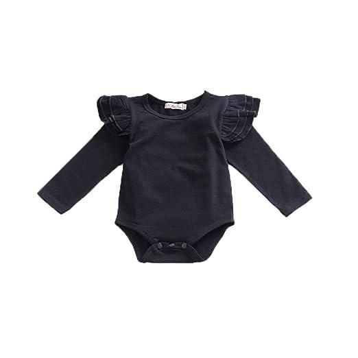 82132c0abaf4 Amazon.com  Kingte Infant Baby Boys Girls Long Sleeve Onesies Ruffle ...