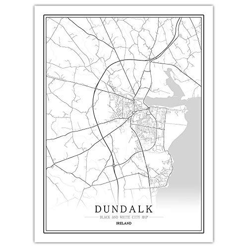 wwttoo Mapa en Blanco y Negro de las ciudades creativas de EuropaIrlandala -