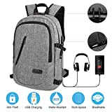 Travel Laptop Backpack Business Laptop Backpack College School Backpack with USB Charging Port and Lock &Headphone interface Water-resistant Laptop Bag for Women and Men Fits up to 15.6-Inch Laptop