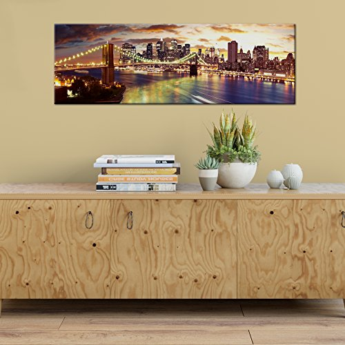 City New York Panoramic Map (Panoramic Colorscape 24x8 Canvas New York Stretched on .75 inch Stretcher Bars)