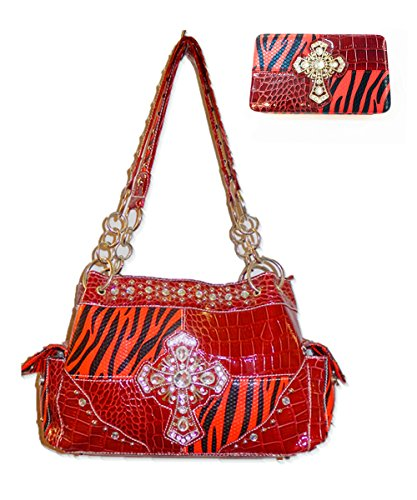 C&c Women's Vintage Style Zebra Print Rhinestone Large Cross and Matching Wallet One Set Red -