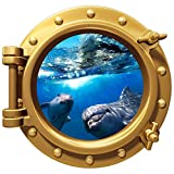 12'' Port Scape Instant Sea Window View DOLPHIN #1 BRONZE Porthole Wall Decal Sticker Graphic Home Kids Game Room Art Decor NEW