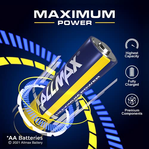 Allmax AA Maximum Power Alkaline Batteries (48 Count) – Ultra Long-Lasting Double A Battery, 10-Year Shelf Life, Leak-Proof, Device Compatible – Powered by EnergyCircle Technology (1.5 Volt)