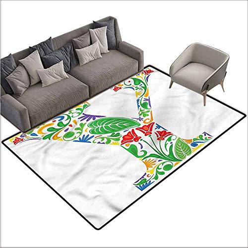 Office Chair Floor Mat Foot Pad Letter Y,Y Font Arabesque Style 36