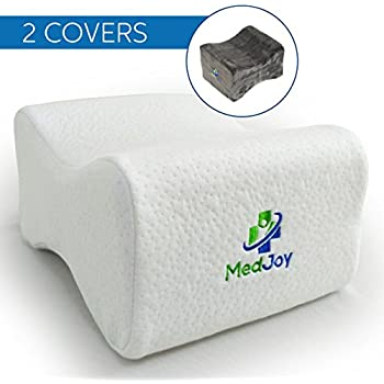 Med-Joy Knee Pillow + 2 Covers for Back Pain & Sciatic Pain Relief. Memory Foam Leg Pillow & Contoured Orthopedic Knee Support for Side Sleepers, Pregnancy, Hip & Spine + Free Travel Case