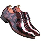 Men Fashion Shoes Dress Pointed Toe Floral Patent Leather Lace Up Oxford by Santimon Red 10 D(M) US