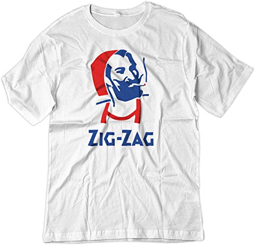 BSW Men's Zig Zag Rolling Smoke Burn Papers Shirt XL White