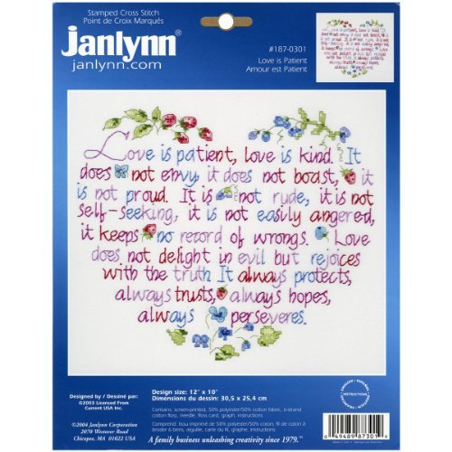 "Brand New Love Is Patient Stamped Cross Stitch Kit-12""""X10"""""