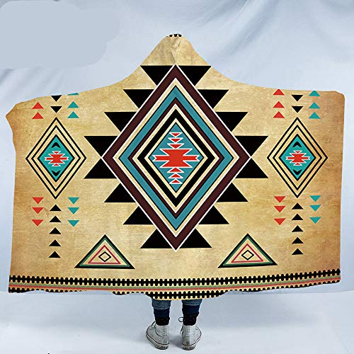 (fgyt.try Geometric Hooded Aztec Wearable Southwest Native American Blanket with Hood 150X200 Adults 150(H) x200(W))