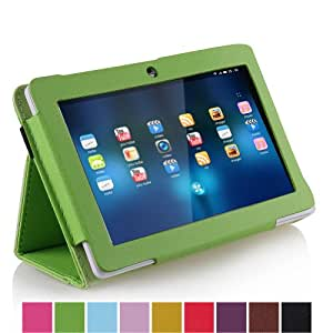 """NSSTAR PU leather Slim 7 inch tablet Folio Protective Cover Case with Stand for 7"""" Afunta Q88, AGPtek, Alldaymall Q88, Axis, Chromo, Dragon Touch A13 Q88,Y88, FastTouch, Fortress, Kocaso M752WH/M752SL/M752WH/M752BL 7-Inch 4 GB Tablet, Kocaso M752 7"""" Android 4.0 All Winner A13, Matricom Tab Nero, Matricom G-Tab Nero CX2, Megafeis M700, Nationite QX7, NeuTab N7, Noria Jr, Noria T2, Portworld, Riin, Simbans 7 Inch S71W/S71P/S71B/S71R/S73R/S73P Tablet PC, Tagital with Dual Camera Tablet PC, ZTO N1, ZTO N1 plus, Zeepad 7.0 (Green)"""