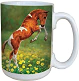 Horse Dances With Daisies Collectible Art Coffee Mug - Large 15-Ounce Ceramic Cup, Full-Size Handle - Gift for horse lovers, Tee-Free Greetings 79005