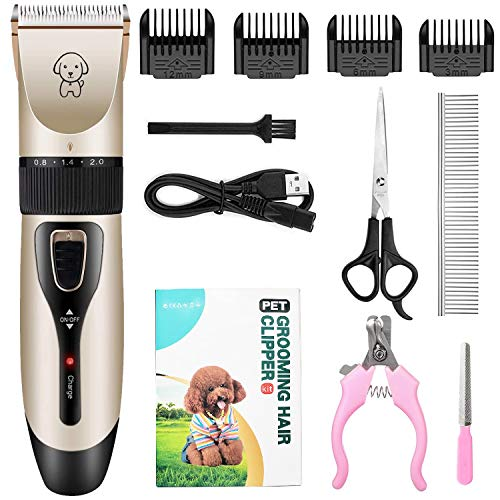 [Upgraded] Cordless Pet Grooming Clipper Kit | Dog Clippers Cat Hair Trimmer Set | Low Noise Rechargeable Electric…