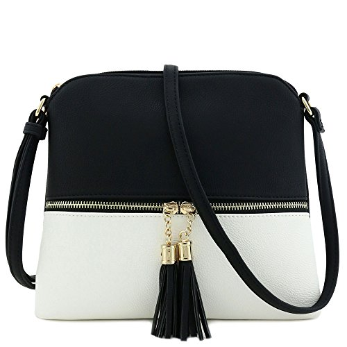 (Lightweight Medium Crossbody Bag with Tassel (Black/White))