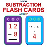 Digital Subtraction Flash Cards in Color (1-9 Shuffled Twice)