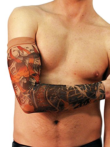 Wild Rose Unisex IKANDY Orange Flames Single Tattoo Mesh Sleeve Skull Gun Fire, Tan, Small (Flame Tattoo)