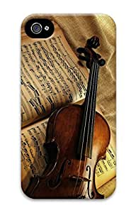 DIY 3D PC Back Case Cover for iPhone 4 Hard Shell Skin for iPhone 4 With Violin Life