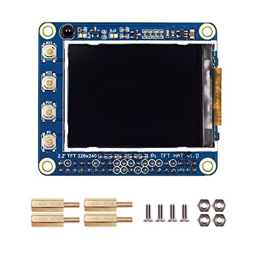 WINGONEER 2 2'' TFT Screen LCD Display HAT 320x240 for Raspberry Pi 3, 2  model B and Raspberry Pi 1 Model B+, With IR Receiver