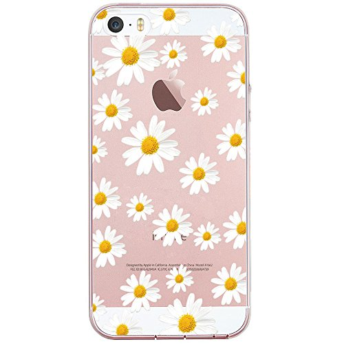 JIAXIUFEN Clear Slim Shockproof Flower Floral Pattern Soft Flexible TPU Silicone Back Cover Phone Case Compatible with iPhone 5 5S SE - Little Daisies (Best Iphone 5 Tpu Case)