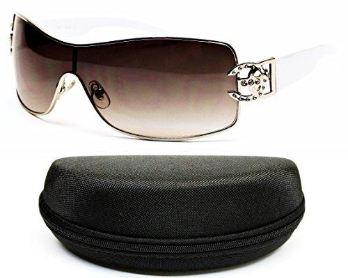 D1008-CC Designer Eyewear Turbo Sunglasses (18 Silver/white, smoked)