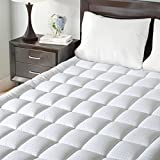Maevis Mattress Pad Cover 100% 300TC Cotton with 8-21 Inch Deep Pocket White Overfilled Bed Mattress Topper (Down Alternative, Queen)