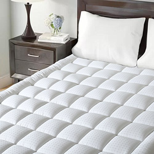 Maevis Mattress Pad Cover 100% 300TC Cotton with 8-21 Inch Deep Pocket White Overfilled Bed Mattress Topper (Down Alternative, (100% Cotton Mattress Pad)