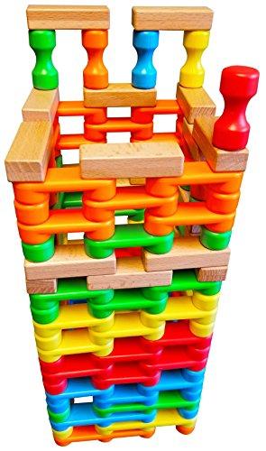 (Magz Combo Bricks 125 Magnetic Building Blocks consisting of 85 Standard Bricks, 15 Larger Blocks, 5 risers, and 20 Wooden Bricks)