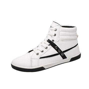 WWricotta LuckyGirls Zapatillas Casual Hombres Botas Altas Moda Remaches Clasicas Cómodas Calzado Andar Zapatos Planos Bambas con Cordones: Amazon.es: ...