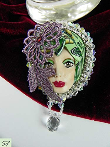 Face Doll Art Brooch pin embroidered beads purple green brooch gift for women