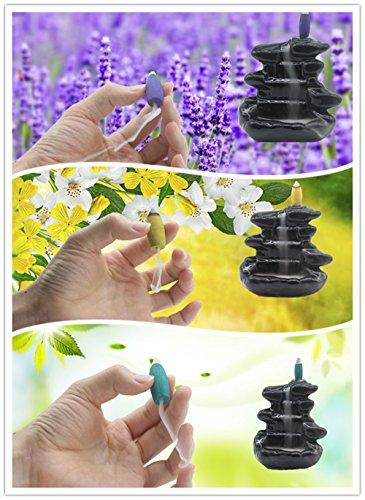 20pcs Backflow Incense,Mintu Retro Handmade Green Tea Incense Osmanthus Incense Jasmine Incense Lavender Incense Rose Incense Sandalwood Mixed 6 Kinds of Fragrant Waterfall Cone Reflux Incense Cones D