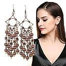 Long Wooden Tassel Earrings EVBEA Antique Copper Wood Bead Earrings for Women
