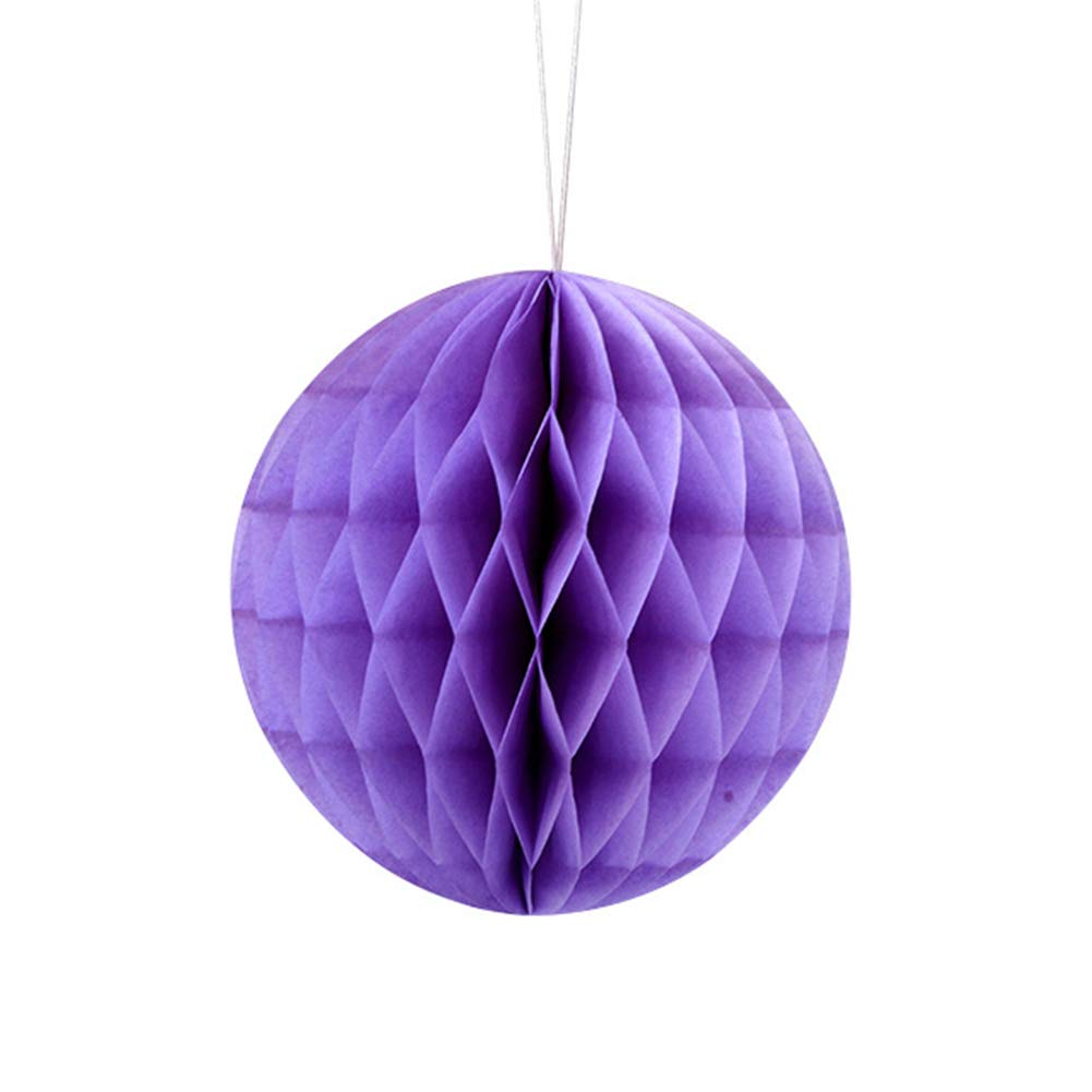 Academyus 8/16in Solid Color Tissue Paper Pompom Honeycomb Ball Hanging Wedding Party Decor Purple 8 in