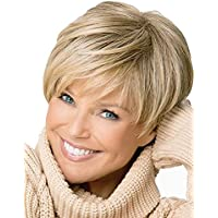 Royalfirst Short Straight Synthetic Fiber Blonde Hair Wig for Women With Free Wig Cap