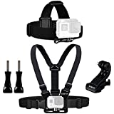Sametop Chest Mount Harness Chesty Head Mount Strap Kit for GoPro Hero 6, 5, 4, Session, 3+, 3, 2, 1 Cameras