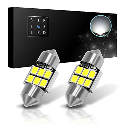 SiriusLED 2835 Chipset Extremely Bright Canbus Festoon 1.1 inch 28mm LED Trunk Cargo Courtesy Light Bulb Size DE3021 DE3022 400 lumen pure white 6000k Pack of 2