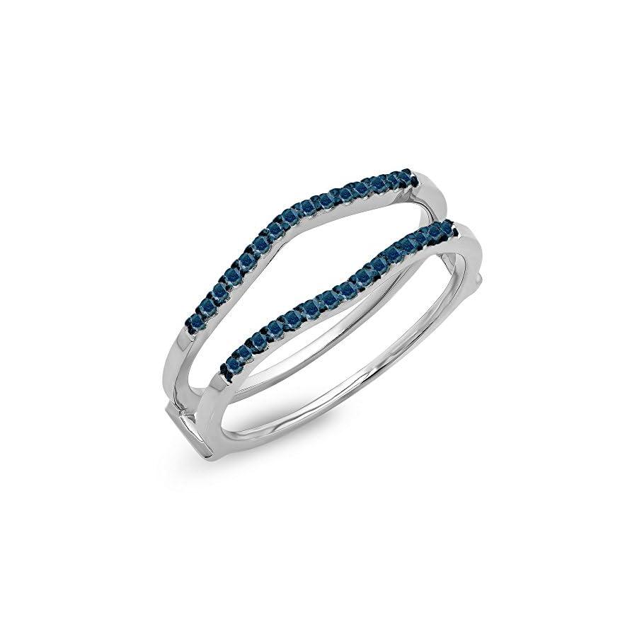 Dazzlingrock Collection 0.18 Carat (ctw) 14K Gold Round Blue Diamond Ladies Anniversary Wedding Band Enhancer Guard Double Ring