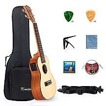 Kmise Electric Ukulele Solid Spruce Concert Ukelele 23 Inch Uke Hawaii Guitar with Professional Guitar Cable and Starter Kit Brand: Kmise