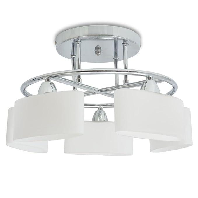 vidaXL Lámpara de Techo Moderna con 5 Luces de Pantalla ...