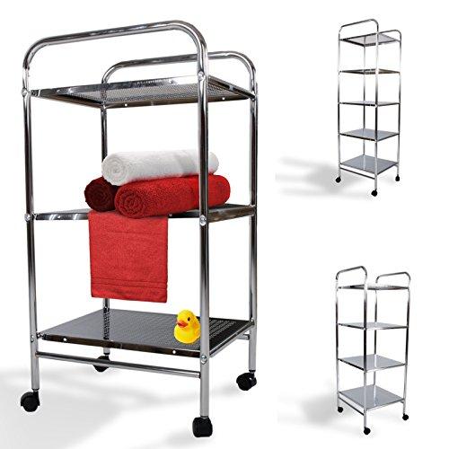 casa pura® Badwagen Ferra | kombinierbares mobiles Badmöbel | mit 4 Rollen | verchromt | verschiedene Höhen (71 cm, 3 Böden)