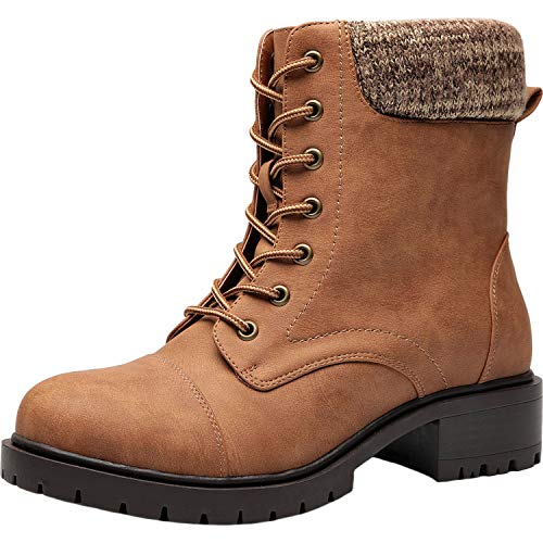 Women's Wide Width Mid Calf Boots - Mid Low Heel Sweater Cuff Lace Up Ankle Combat Boots.(180612,Brown,6WW)