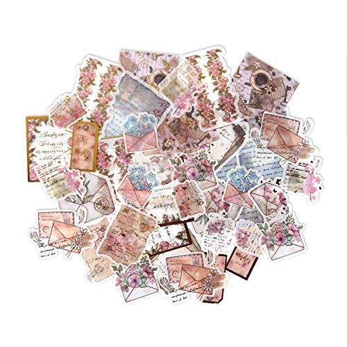 MOGOI Note Sticker, 45/60 Pcs Cherry Blossom Series Vintage Ephemera Pack, Ephemera Card Stock for Notebook, Journal, Card Making, Letters