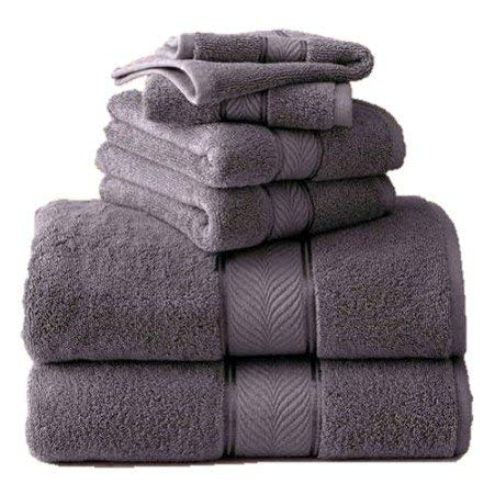 BHG 6-Piece Thick and Plush Solid Cotton Bath Towel Set (Gray Shadow)