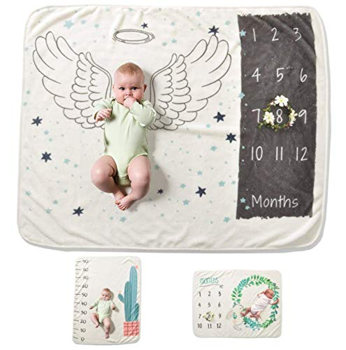 Baby Milestone Blanket – Ultra-Soft Thick Blanket, Perfect for Gift, for Boy or Girl Infant Newborn Baby, Take Monthly Photos - from 3 Cute Designs (Angel/Cactus/Rabbit) - by Le Chris (Angel)