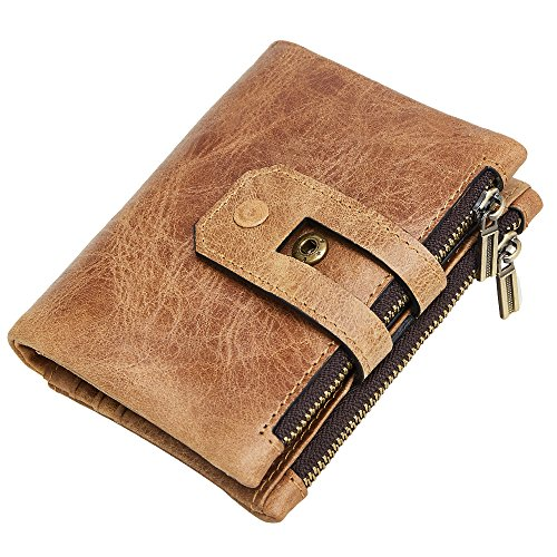 Men RFID Blocking Wallet, Wraifa Genuine Leather Short Purse Bifold Card Holder (Light Brown Men RFID Blocking Wallet)