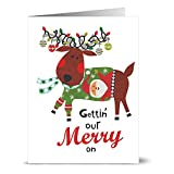 24 Note Cards - Getting our Merry On - Blank Cards - Red Envelopes Included