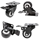 [US Stock]2inch Swivel Caster Wheel with 360 Degree Brake for Shopping carts, Hand Trolley, Tools, Movable Furniture, Load Capacity 66lb Each Caster(Set of 4)