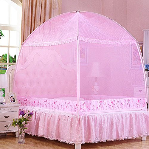 CdyBox Princess Mosquito Net Bed Tent Canopy Curtains Netting with Stand Fits Twin Full Queen (Pink, Full/Queen) (Beds Canopy Affordable)