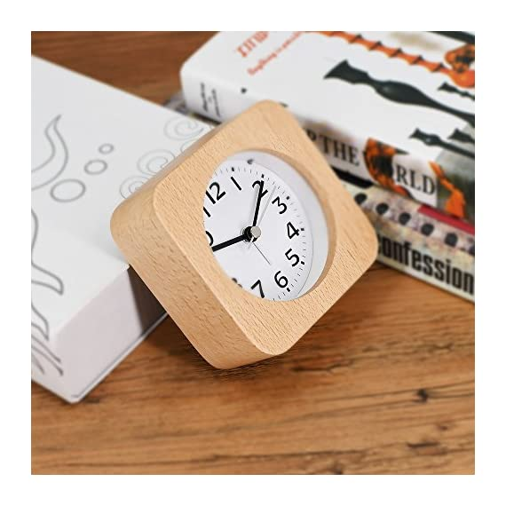 """TXL 5.5"""" Wood Alarm Clock Digital Battery Operated Silent Desk Clock Snooze and Light Function, Beep Sounds, Gentle Wake, Ascending Alarm, Easy Set Kids Bedside Mute Beech Clock for Office/Seniors - Hand made by healthy natural beech wood alarm clock for office/bedroom/kitchen, perfect as a present and bring your family a low-carbon life. Clear and comfortable visual sense with soft backlight for easily exact time reading at night. Super-quality Quartz Sweep Movement guarantees accurate time and absolutely silent sleep and best working environment. - clocks, bedroom-decor, bedroom - 51XrtCbaBHL. SS570  -"""