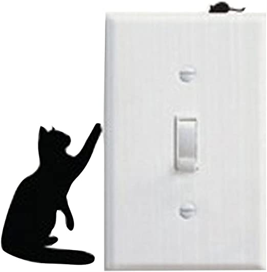 Fashion Cat Wall Stickers Light Switch Decor Decals Nursery Baby Room Art Mural.