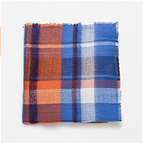 Women's Cozy Tartan Scarf Wrap Shawl Neck Stole Warm Plaid Checked Pashmina (Blue Orange)