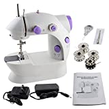 Arts & Crafts : Portable Sewing Machine, 2-Speed Double Thread, Mufti-function Automatic Tread Rewind Sewing Machine with LED (White and Purple)